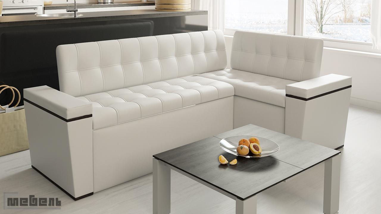 """Кухонный угловой диван """"Брайтон"""" со спальным местом (Венге/Экокожа Белая)"""