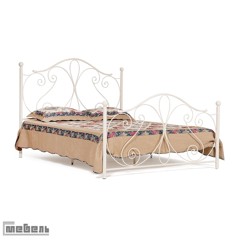 """Кровать двуспальная """"Luchana"""" (1600 х 2000 мм.) деревянные ламели (цвет: butter milk)"""