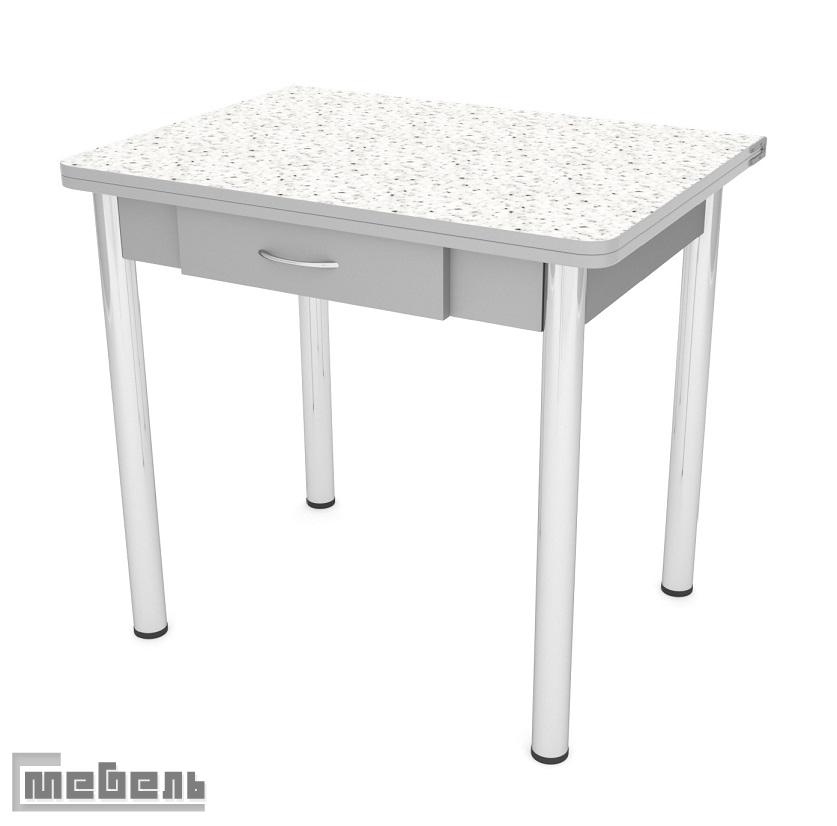 Стол обеденный раскладной ЛС-831 с ящиком (пластик 4042/ ноги Хром/кромка+подстолье серый)