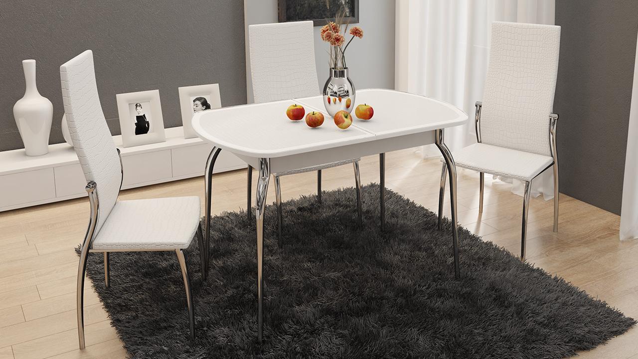 """Обеденная группа """"Ницца СМ-217.01.1"""" (стол + 4 стула """"Комфорт"""") Белый"""
