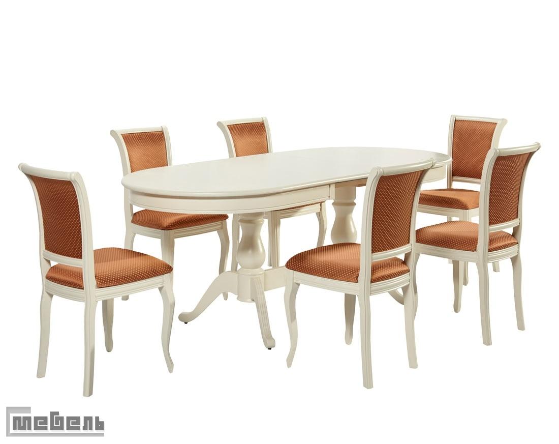"""Обеденная группа """"Фабрицио-2 овал"""" (стол + 6 стула """"Кабриоль"""") Эмаль белая"""
