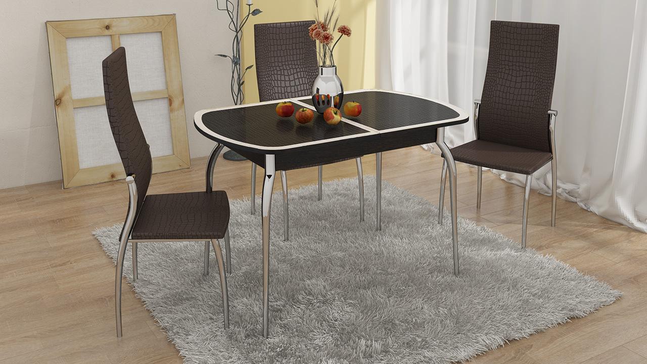 """Обеденная группа """"Ницца СМ-217.01.1"""" (стол беж. стекло + 4 стула """"Комфорт"""") Венге-Кожа коричневая"""