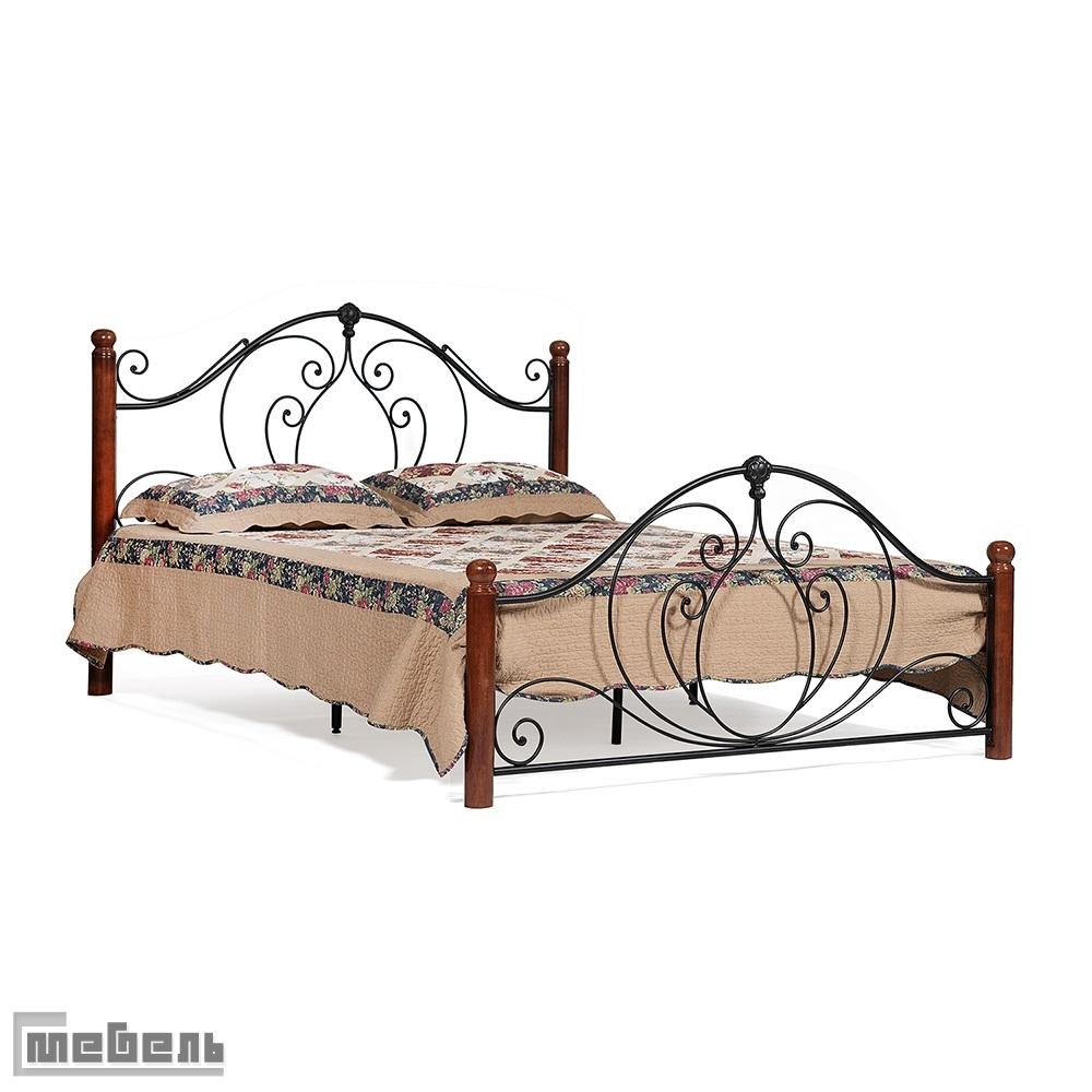 """Кровать двуспальная """"Coltano"""" (1600 х 2000 мм.) деревянные ламели (Тёмный дуб)"""