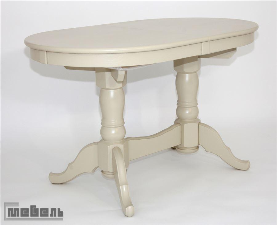 Стол обеденный раздвижной Презент (Слоновая кость/массив березы, Шпон)