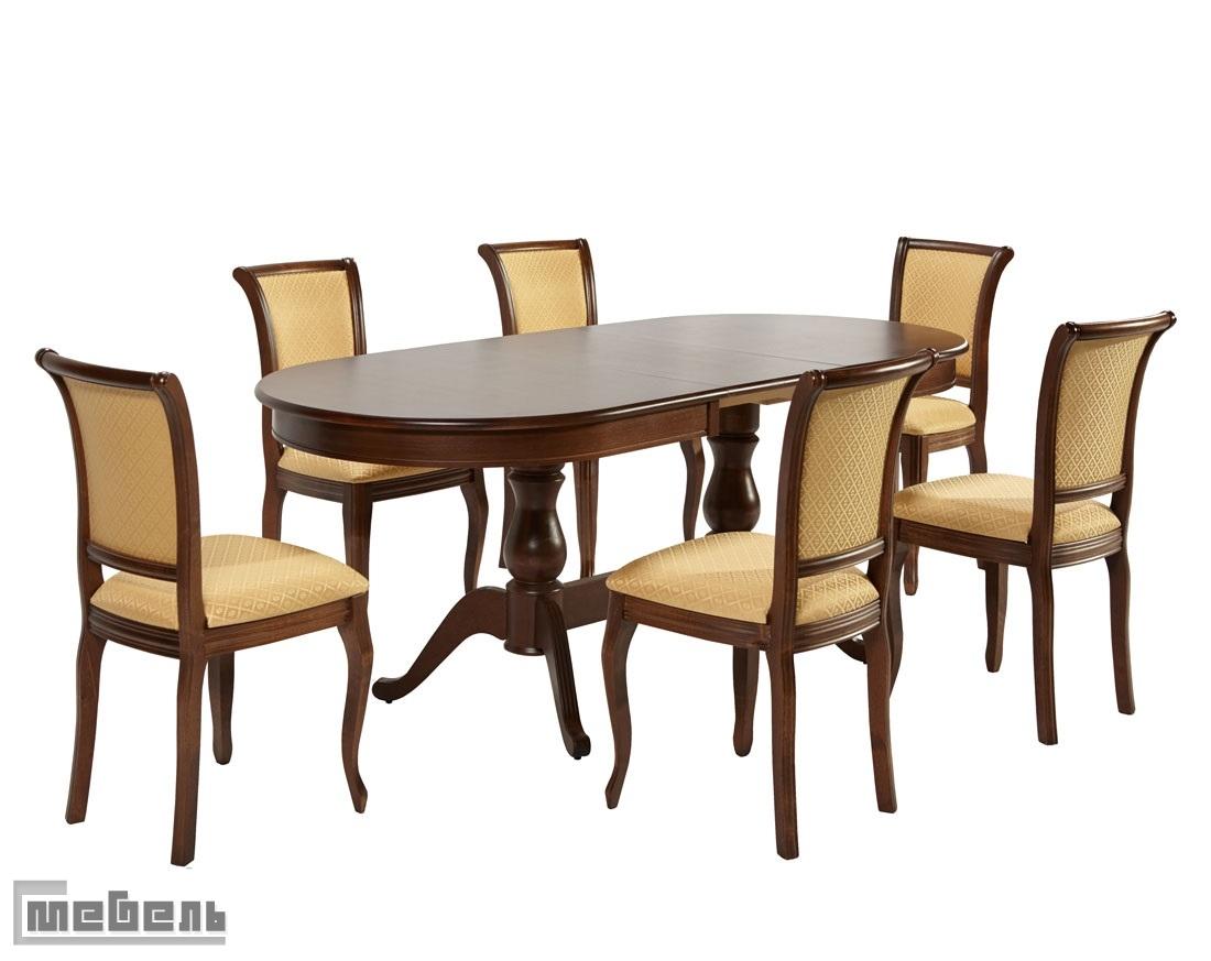 """Обеденная группа """"Фабрицио-2 овал"""" (стол + 6 стула """"Кабриоль"""") Орех тёмный"""