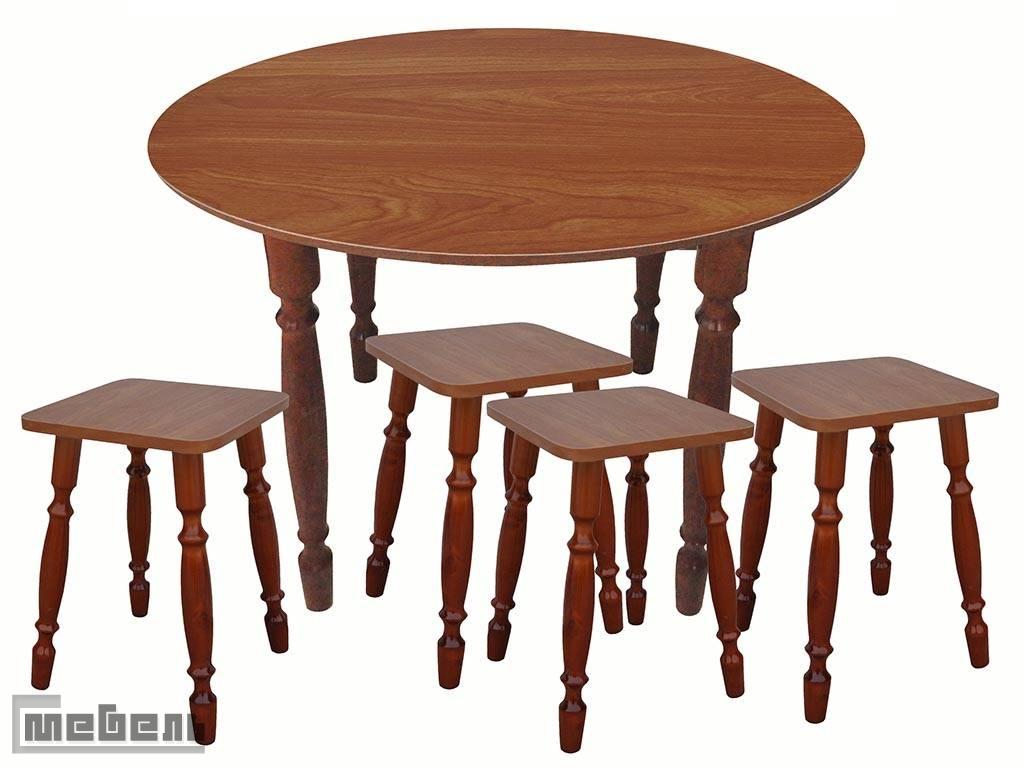 Обеденная группа (стол круглый + 4 табурета Ольха пластик)