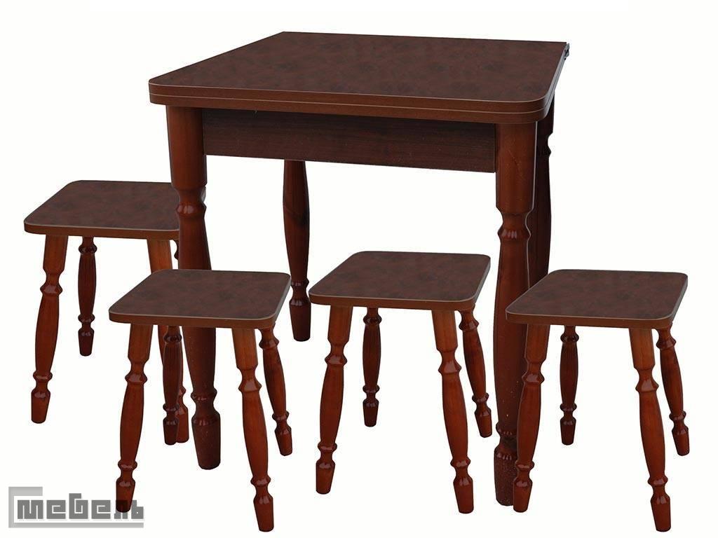 Обеденная группа (стол прямоугольный раскладной (600 х 600 мм.) + 4 табурета Корень вяза пластик)