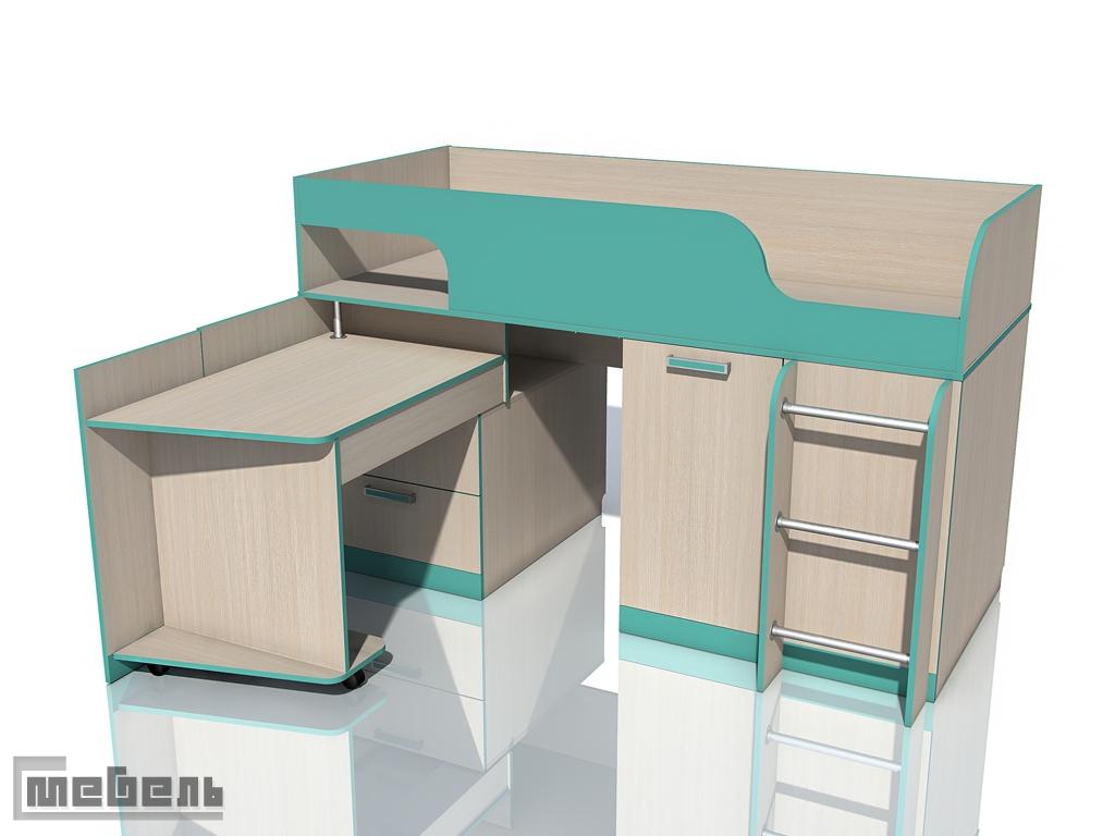 """Двухъярусная кровать с поворотным столом НМ 011.55М """"Рико"""" ЛДСП Аква,Коралл"""
