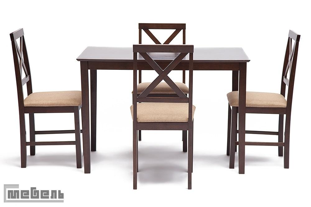 """Обеденная группа """"Hudson"""" (стол + 4 стула) цвет: Тёмный орех (Cappuccino)"""